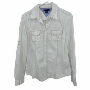 Tommy Hilfiger White Button Down Roll Tab Sleeve Blouse Small